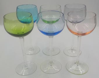 Vintage Stemmed Aperitif Glasses - Set of 6 - Liquor - Cordial Glasses - 1950 Era - Elegant - Barware