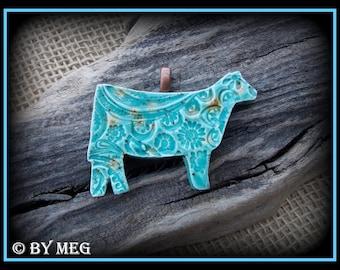 """Show Heifer, Cattle Jewelry, Kiln Fired Earthenware Pottery Pendant Approx 2"""" Wide"""