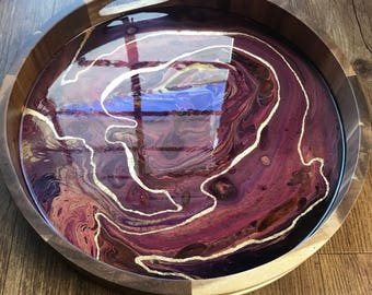 Magenta and Gold Resin and Wood Tray with Gold Leaf