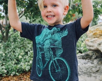 SUMMER SALE Sea Turtle on a Bicycle- Kids T Shirt, Children Tee, Handmade graphic tee, sizes 2-12