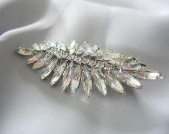 Rhinestone Fern Brooch, Navette crystal stones, Leaf, Sparkling, Prong Set, 1950s, Elegant, Vintage Jewelry, Fashion Pin