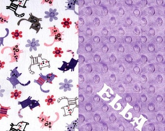 SALE Cat Minky Adult Blanket - Personalized Blanket - Cats Purple Blanket - Minky Throw / Purple Lilac Throw / Personalized Gift / Twin Size