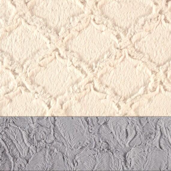 Adult Minky Blanket, Ivory Gray Blanket - Minky Throw Blanket - Twin Blanket // Lattice Blanket // Soft Blanket / silver Blanket