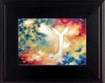 Angel Art Print Framed, Miniature Art, Guardian Angel, Spiritual Gift, Home Decor