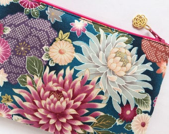 Chrysanthemum Zipper Pouch / Cosmetic Purse - Indigo