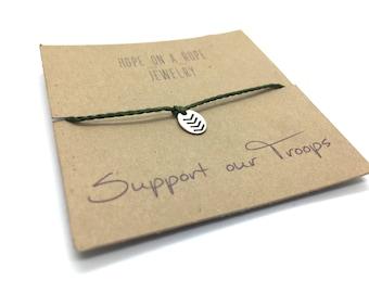 Salute. Sterling silver hand stamped military bracelet on cord. Chevron Stripes - Hipster Bracelet - Simple Bracelet - Tiny Bracelet