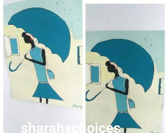 African woman art ,Afrikaans,african American art,black woman umbrella painting,  black woman painting, blue dress, natural hair