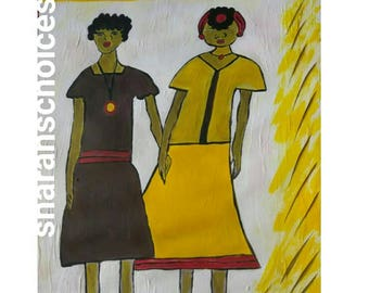 black woman art, black girl painting,  yellow red dress , afrikaans art,African American art,black woman painting, natural hair
