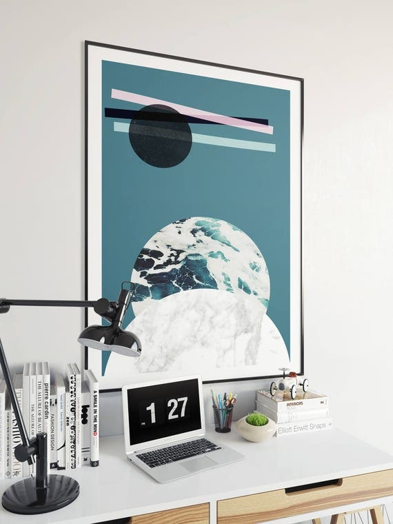 ABSTRACT LANDSCAPE // Mid centuty poster, 24x36, abstract art, minimalist print, scandinavian style, Nordic design, moon, sea, marble, bleu