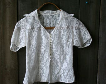 Antique 1930s Lace Short Sleeve Blouse Vintage