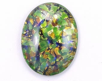 Large Green Harlequin Czech Glass Cabochon 40x30mm - 1