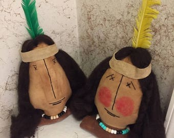 FAB~pRIMITIVE~~pAIR~mR.~&~MRS.~INDIAN~nATIVE~aMERICANS~hANDMADE~uNIQUE~sHELF~sITTERS~aNYTIME~dECORATION~gIFT~