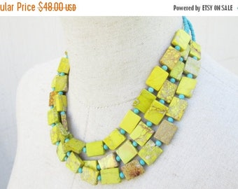XMAS in JULY SALE Yellow and Turquoise Triple Strand Beaded Layered Necklace