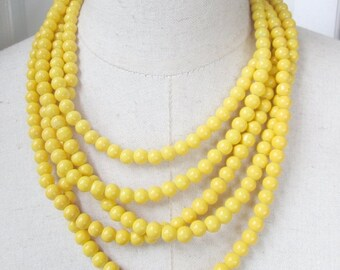 XMAS in JULY SALE Bright Yellow Multi Strand Beaded Necklace Layered Adjustable