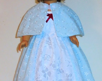 Princess style Baby blue eyelet Colonial dress, 3 pc. fits American Girl 18 in. dolls. Created for Elizabeth or Felicity  No.711