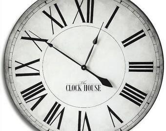 FARMHOUSE Large Wall Clock-30in CAMBRIDGE Clock-Oversized Wall Clock-Big Clock-Hand painted-Wedding Gift-Family Heirloom-FREE Inscription