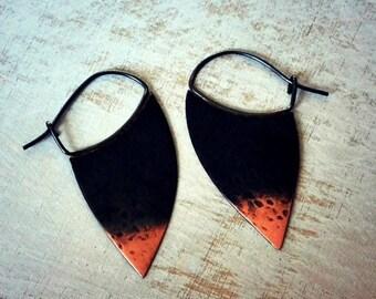 ON SALE Rustic copper earrings, boho earrings, hoop earrings, blade hoops, ombre oxidized, sterling silver - Blade