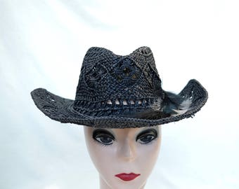 Vintage Black Straw Cowgirl Hat With Feather Trim / Cowboy Hat / Victorian Cowgirl Hat / Vintage 1990's Cut Out Straw Cowgirl Hat