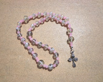 Anglican Episcopal Rosary, Clear and Pink Glass Beads with Silver Tone Cross, Protestant Rosary, Christian Gifts, Protestant Prayer Beads