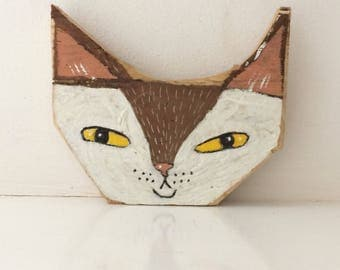Original painting on reclaimed wood of a pointy eared cat