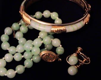 Vintage MARVELLA Jade Green Art Glass Bangle, Necklace,  Earrings Set
