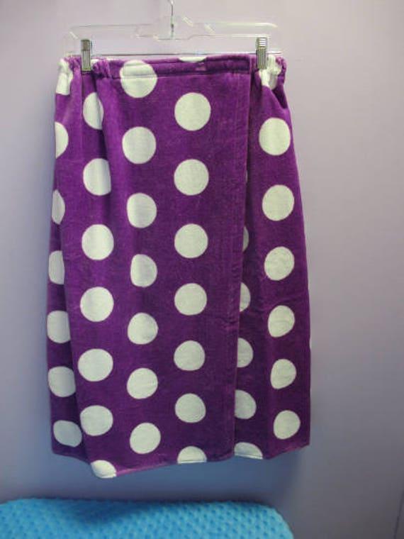 Spa Wrap Plus Size Womens Purple Polka Dot Towel Wrap-FREE SHIPPING