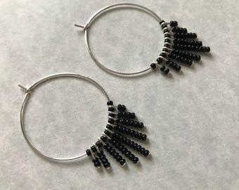 Large Hoop Fringe Earrings