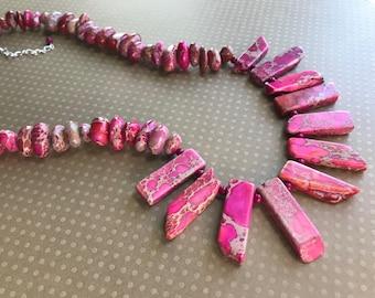 Pink Imperial Jasper Fan Necklace