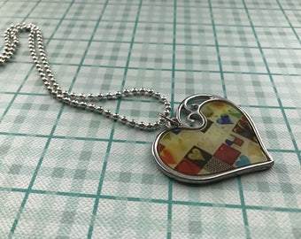 Heart collage pendant on chain
