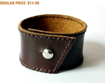 Leather Cuff in Dark Brown color Leather Bracelet Leather Bangle with Metal Silver Tone Button