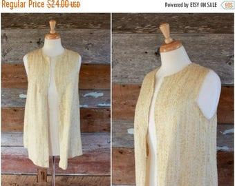 SALE 1970s handmade vest   pale yellow textured loose fit vest top   size medium / large