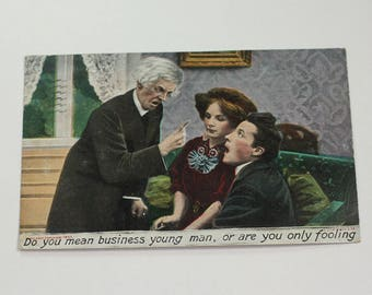 Antique Courting Postcard Humorous Do You Mean Business Young Man 1907