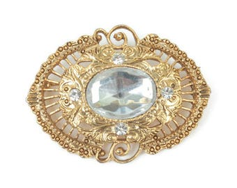 Victorian Revival Filigree Brooch Clear Cabochon Center 1928 Jewelry Company Vintage