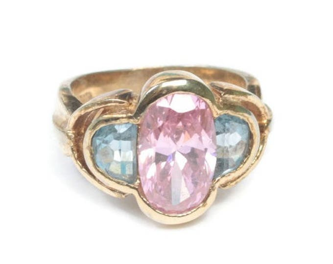 CIJ Sale Pink and Blue Stones Sterling Ring Faceted Glass Gold Plated