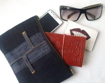 black denim pouch, recycled denim, denim purse, upcycled denim bag, denim pencil case, jeans, upcycled, denim zipper pouch,manbag