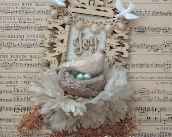 wood frame ornament - glittery bird and nest - JOY - hanging - NO041