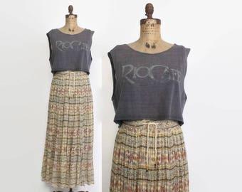 Vintage 80s Gauze Skirt / 1980s Ethnic Floral Indian Cotton Maxi Skirt