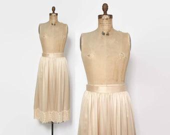 Vintage 80s SIlk SKIRT / 1980s High Waisted Crochet Lace Trim Gathered Midi Skirt M