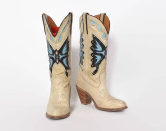 Vintage 80s Butterfly BOOTS / 1980s Miss Capezio Leather Stack Heel Western Boots 8 1/2