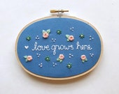 Home Decor Gift for Mom, Gift under 50, Gifts for Mom, Love grows here, Housewarming gift, gift for wife, floral embroidery decor, kimart