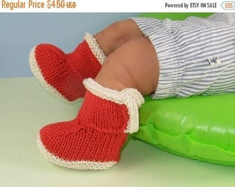 50% OFF SALE Instant Digital File pdf download knitting pattern- Baby 2 Colour Simple Trim Booties pdf download knitting pattern