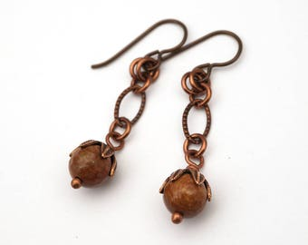 Earthtone earrings, light brown faceted fossilized wood beads, Niobium French hooks, copper dangle