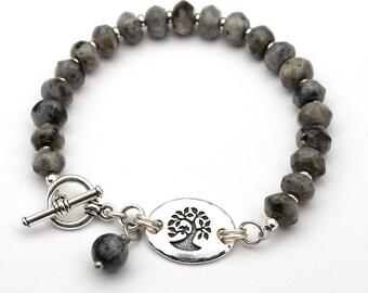 Black and grey tree bracelet, Norwegian moonstone semiprecious stone beads, silver, 8 inches long