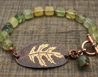 Green oak leaf bracelet, prehnite beads, etched jewelry, 8 inches long