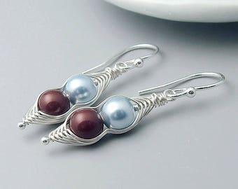 Peapod Earrings, Sterling Silver Pearl Peas in a Pod earrings, 2, 3 or 4 peas, mothers, mom jewelry,