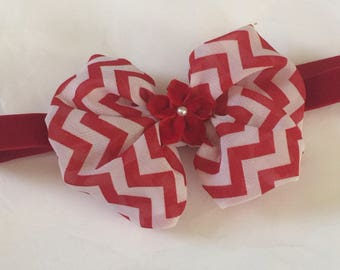 Christmas  red chevron chiffon baby headbands girls boutique  hair bows red velvet headband