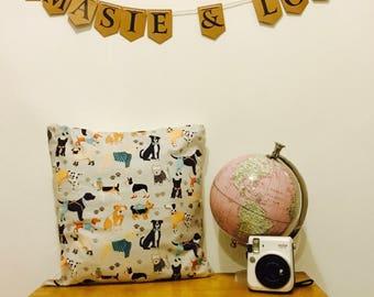 Dog Print Cushion - Dog Lover - Dog Lover Gift - Dog Fabric - Dog Print Gift - Home - House - New Home - Dog Cushion - Dog Pillow