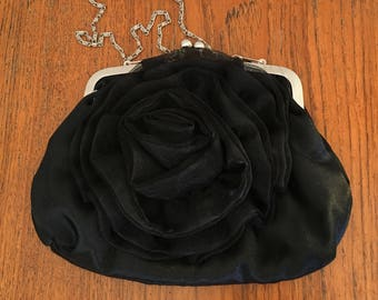 Soft and Silky Black Rose Purse, evening purse, vintage purse, vintage clutch, small black purse