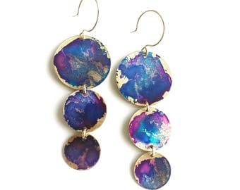 3 Drop Circle Earrings - Viloet Watercolor Patina