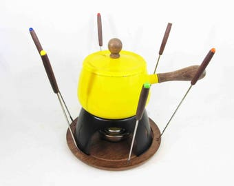 Vintage Enamel Fondue Pot Set in Yellow with Six Forks. Circa 1960's.